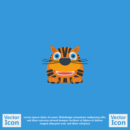Flat style icon with tiger symbol
