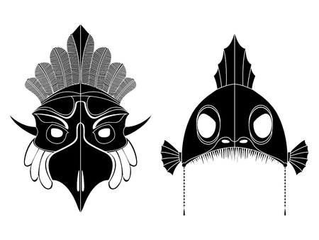 Tribal masks, ornamental elemets set over white background