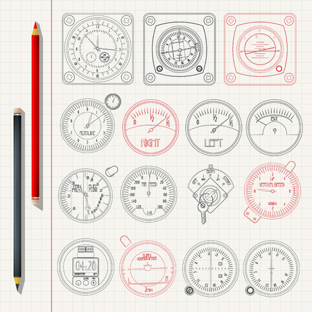 Aircraft dashboard instruments outlined pencil sketch