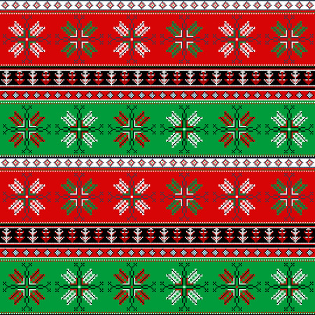 Traditionelles Weihnachten gestricktes ornamentales Muster für Design Standard-Bild - 78445134