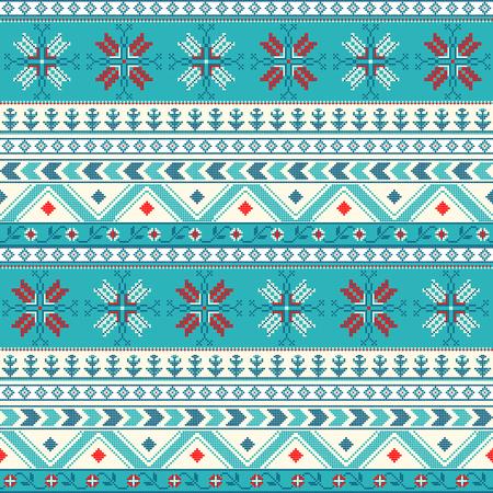 Traditionelles Weihnachten gestricktes ornamentales Muster für Design Standard-Bild - 78445136