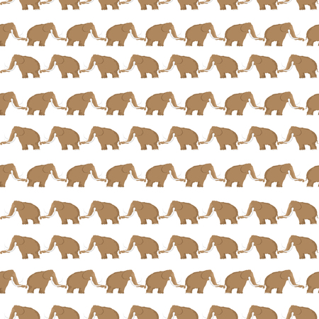 Cartoon style seamless pattern with mammoths in vector