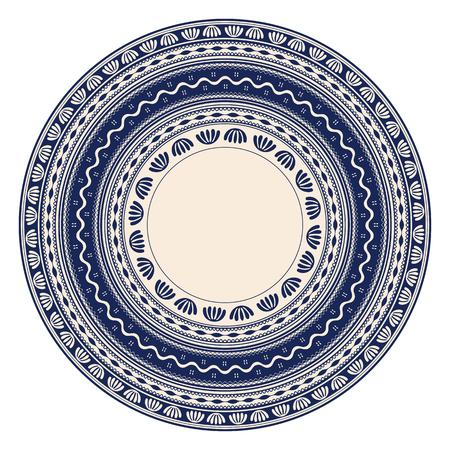 Traditional Romanian round decorative element, vector template Illusztráció