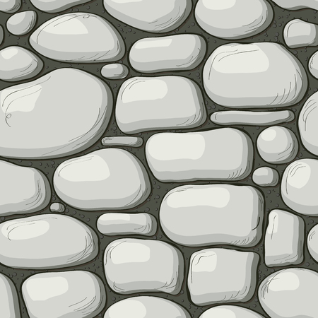 Cartoon style stone wall texture, web page background. Vector seamless pattern