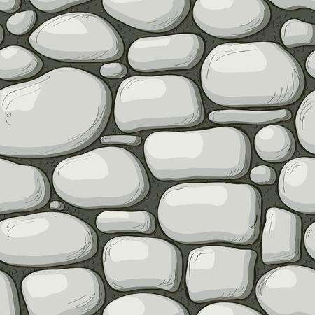 Struttura della parete di pietra di stile del fumetto, priorità bassa della pagina web. Vector seamless pattern