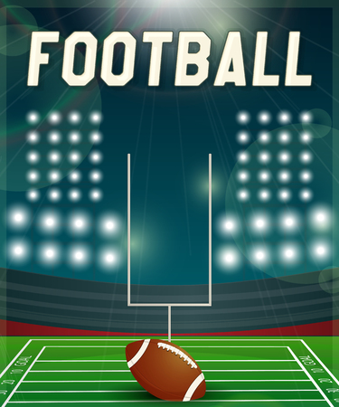 American football background illuminated by floodlights. Vector EPS10 illustration.
