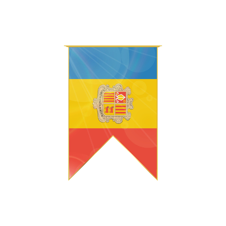 Luxury vertical ribbon with Andorra flag framed in gold