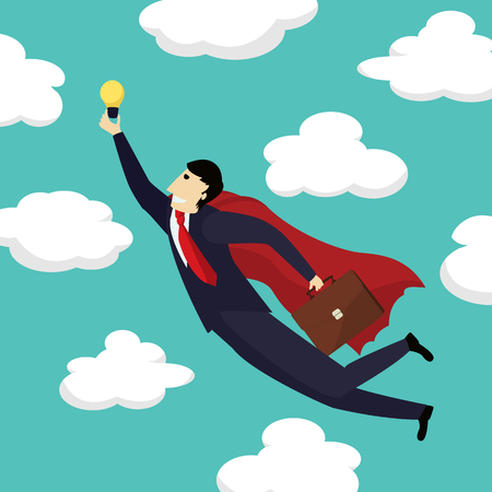 Superhero businessman is flying with a new idea towards the skies, conceptual corporate graphic Ilustração