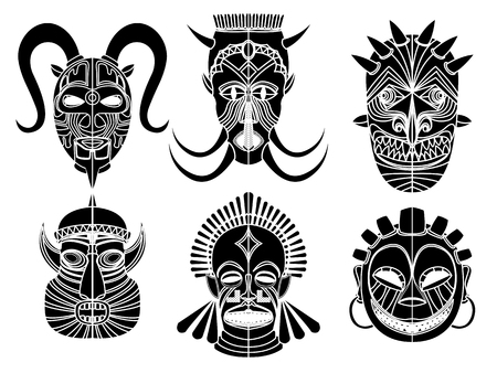 Tribal masks, ornamental elemets set over white background