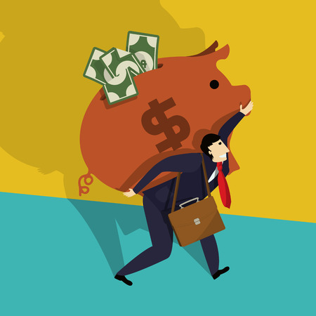 Businessman carries a big piggy bank full of cash, conceptual corporate graphic