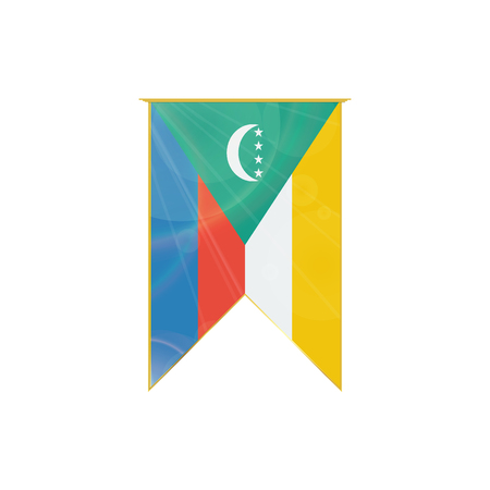 Luxury vertical ribbon with Comoros flag framed in gold