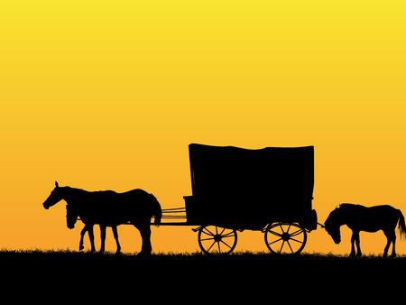 Westelijke podiumwagen en paarden op de prairie