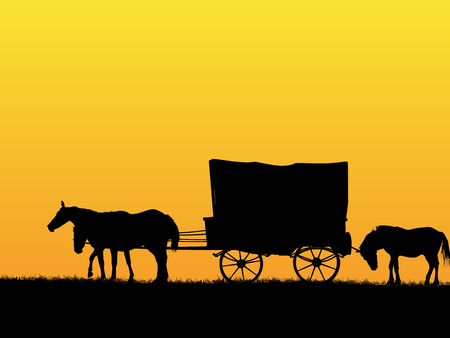 Western stage coach wagon and horses on the prairie Vettoriali