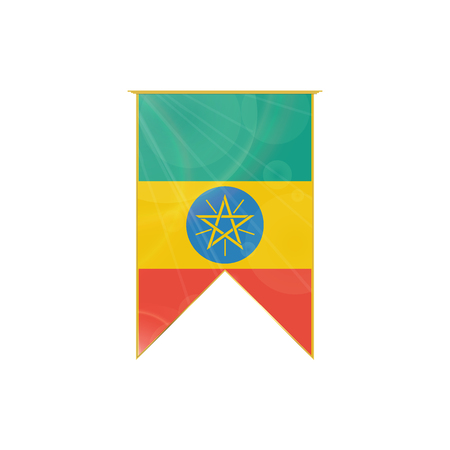 Luxury vertical ribbon with Ethiopia flag framed in gold
