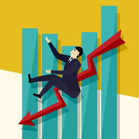 Negative sales chart and falling  business man, conceptual corporate graphic