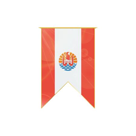 Nastro verticale di lusso con bandiera polinesiana francese incorniciato in oro