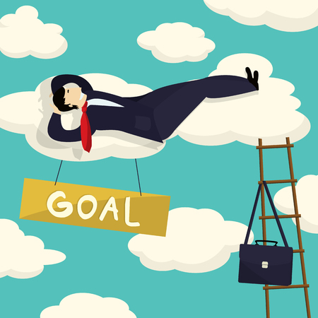 smart goals: Businessman resting after he had his goal achieved, conceptual corporate graphic