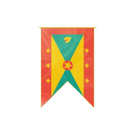 grenada: Luxury vertical ribbon with Grenada flag framed in gold