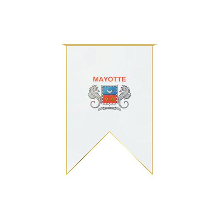 mayotte: Luxury vertical ribbon with Mayotte flag framed in gold