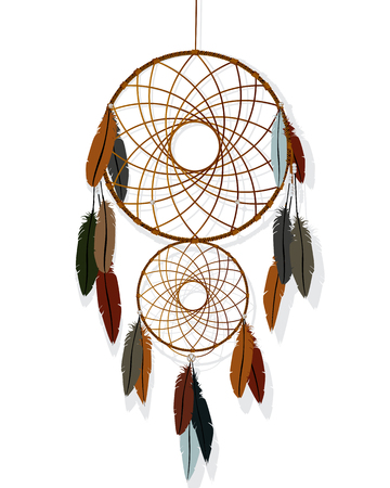 americas: Native American-Indian dream catcher against white background