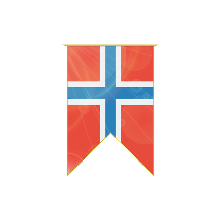 norway flag: Luxury vertical ribbon with Norway flag framed in gold