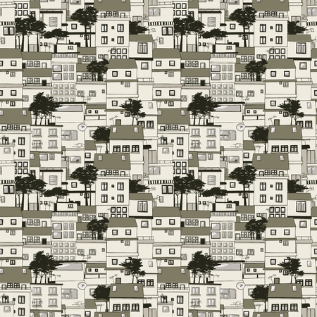Old houses seamless texture pattern Illustration