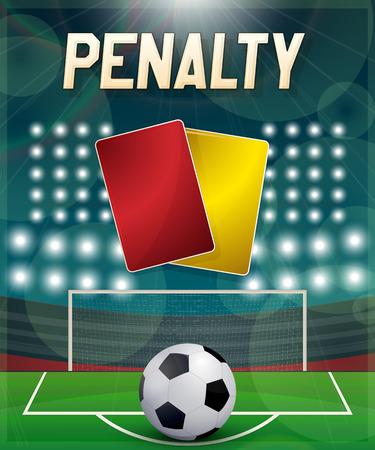 Penatly with direct kick, footbal association punishment . Vector EPS10 illustration.