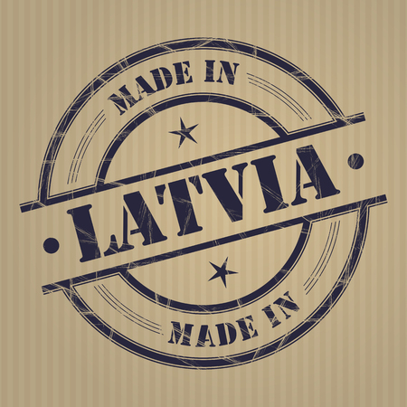 produced: Made in Latvia grunge rubber stamp Illustration
