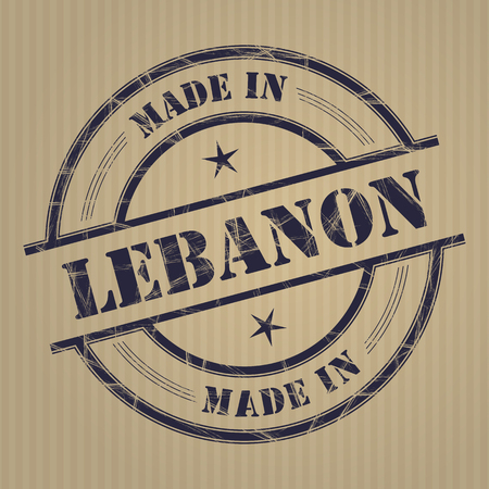 produced: Made in Lebanon grunge rubber stamp