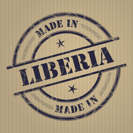 produced: Made in Liberia grunge rubber stamp
