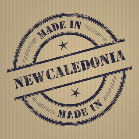 produced: Made in New Caledonia grunge rubber stamp