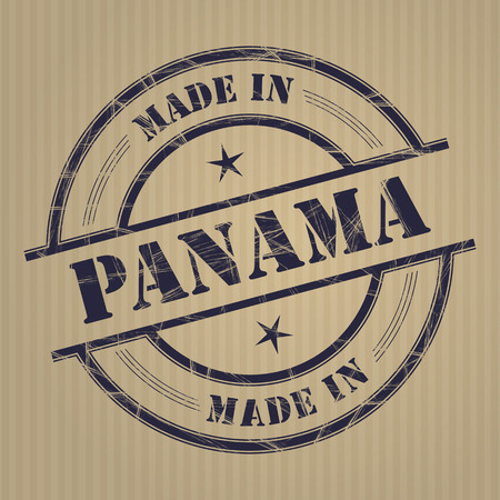 produced: Made in Panama grunge rubber stamp
