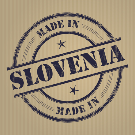 produced: Made in Slovenia grunge rubber stamp