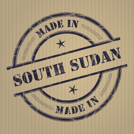 produced: Made in South Sudan grunge rubber stamp
