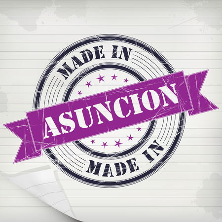 Made in Asuncion vector rubber stamp on grunge paper