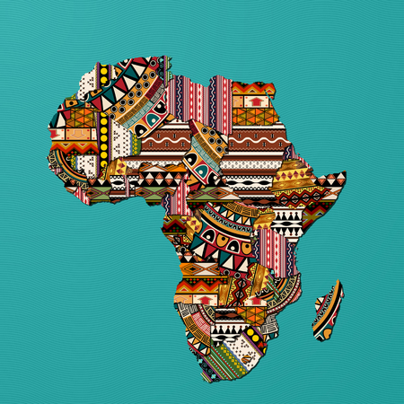 Decorative map of Africa in traditional textures