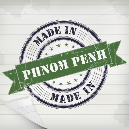 phen: Made in Phnom Phen  vector rubber stamp on grunge paper Illustration