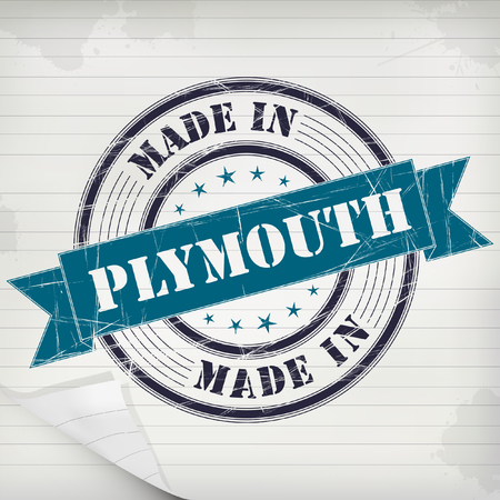 Made in Plymouth vector rubber stamp on grunge paper