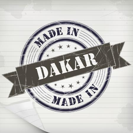 dakar: Made in Dakar vector rubber stamp on grunge paper
