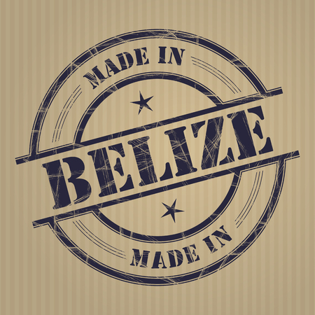 produced: Made in Belize grunge rubber stamp