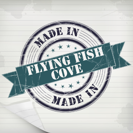 Made in Flying Fish Cove vector rubber stamp on grunge paper