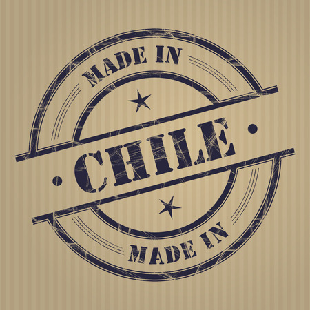 produced: Made in Chile grunge rubber stamp