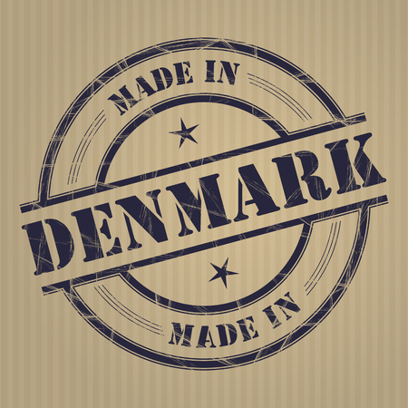produced: Made in Denmark grunge rubber stamp