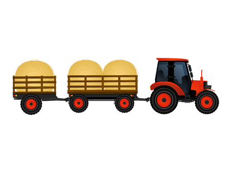 Farm tractor with wagons transporting hay