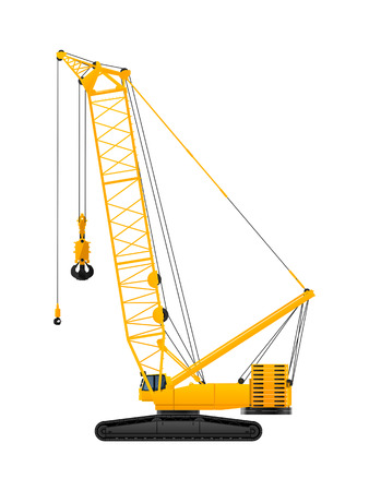 Hydraulic crawler crane vector illustration on white background