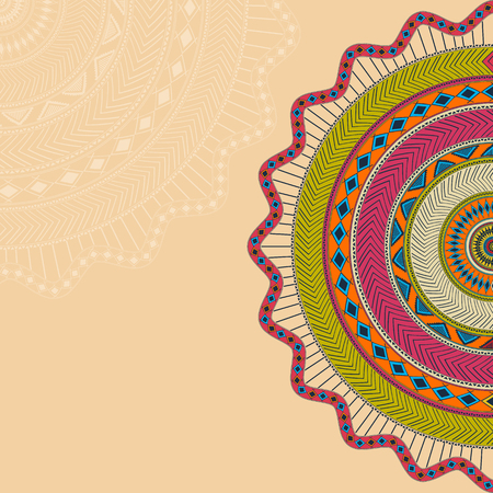 lace pattern: Mandala background with round ornament Illustration
