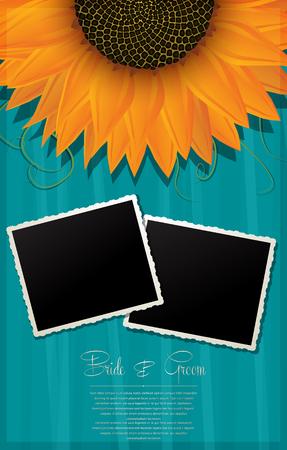 sunflower seeds: Elegant Wedding Background with Photo Frames - Illustration Illustration