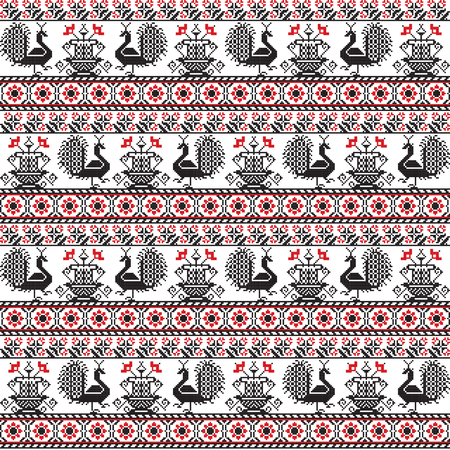 Seamless pattern design inspired by Romanian traditional embroidery Illusztráció
