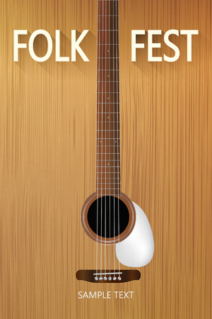 wood texture: Poster for the Folk festival with acoustic guitar Illustration