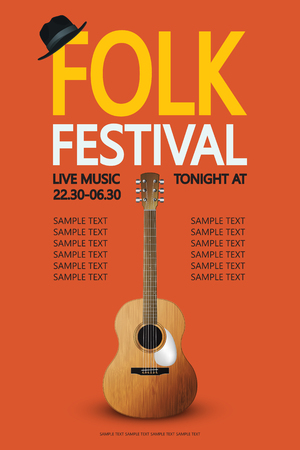 one sheet: Poster for the Folk festival with guitar and hat Illustration